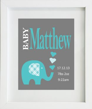 Personalised Baby Birth Statistics with Turquoise Elephant Print
